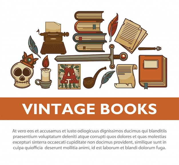 Vintage literature old books vector poster of writer quill ink pen typewriter vector icons