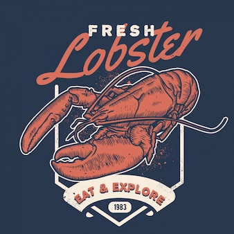Vintage lobster handdraw style seafood