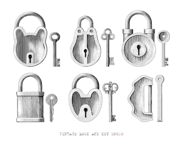 Vintage lock and key collection hand draw engraving style black and white clipart isolated
