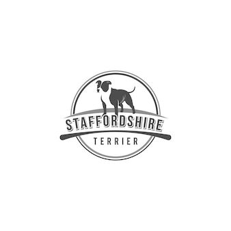 Vintage logo american staffordshire terrier of a white background