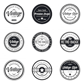 Vintage logo badge set collection