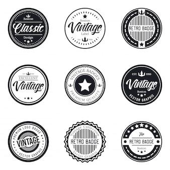 Vintage logo badge set collection