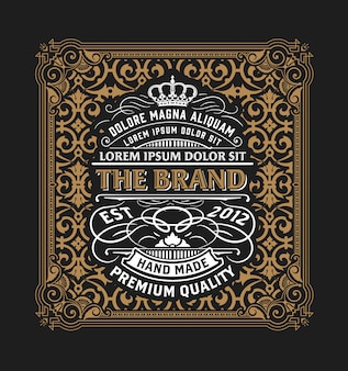Vintage logo or banner layout with ornamental elements