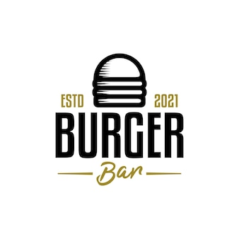 Vintage logo for burger bar with an illustration of a burger with a retro style.