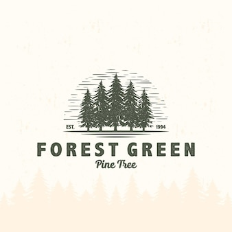 森の山松の木のアウトドアアドベンチャーでヴィンテージロゴキャンプテントとキャンプファイヤー