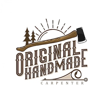 Vintage logo for carpenters with ax and tree elements