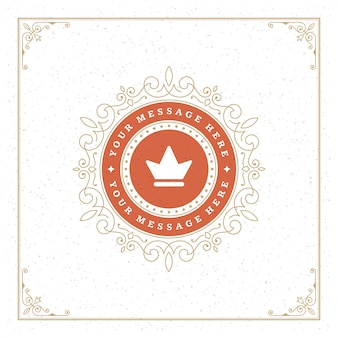 Vintage logo crown template vector elegant flourishes ornaments