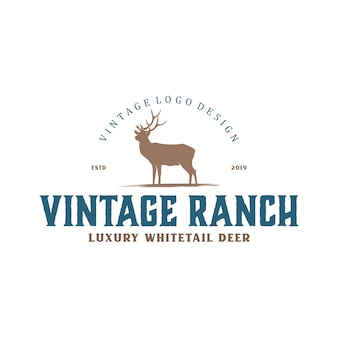 Vintage logo for deer farms and hunting