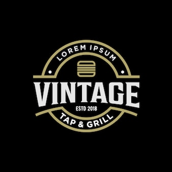 Vintage logo design for burger