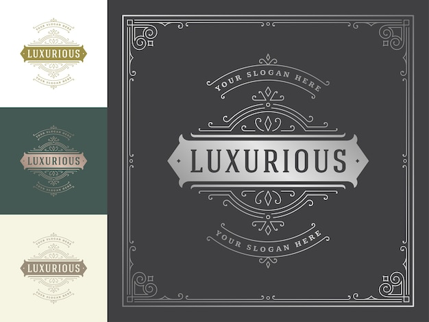 Vintage logo elegant flourishes line art graceful ornaments victorian style  template .