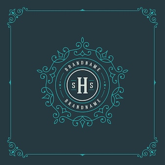 Vintage logo elegant flourishes ornaments