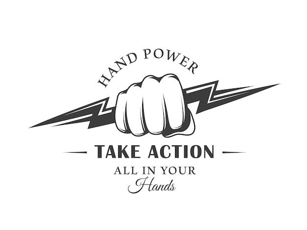 Винтаж логотип кулак и молния, изолированные на белом фоне