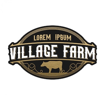 Винтажный логотип для скота. корова ангус фарм Premium векторы