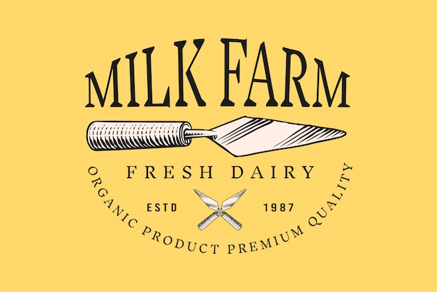 Винтажный логотип для рынка или продуктового магазина. лопатка кухонная для сыра.