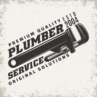 Vintage logo graphic, print stamp, plumber typography emblem