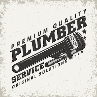 Vintage logo graphic , print stamp, plumber typography emblem