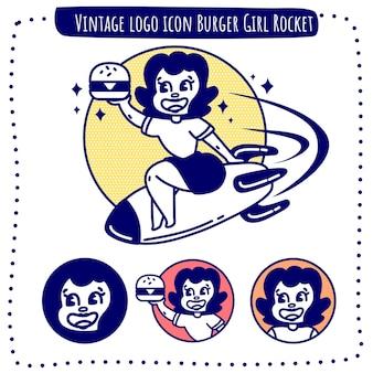 Vintage logo icon burger girl rocket vector