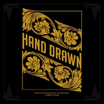 Vintage logo luxury perfect hand drawn for identity