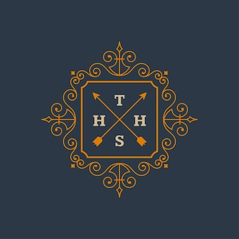 우아한 빈티지 로고 모노그램 템플릿은 화려한 프레임 테두리 디자인으로 장식품을 번성합니다.