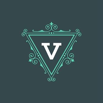 ヴィンテージロゴモノグラムテンプレートエレガントな華やかなフレームボーダーデザインで装飾品を繁栄させる