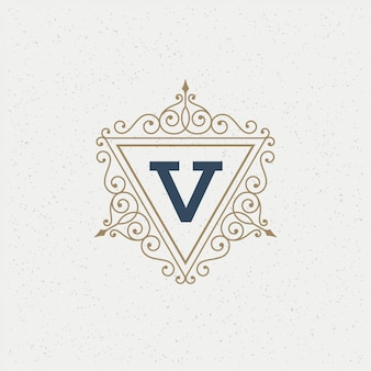 Vintage logo monogram template  elegant flourishes ornaments with ornate frame border