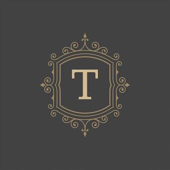 Vintage logo monogram template  elegant flourishes ornaments with ornate frame border
