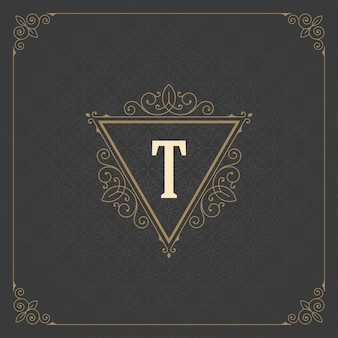 Vintage logo monogram template, golden elegant flourishes ornaments with ornate frame border