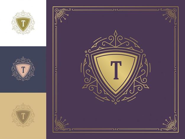 Винтажный логотип вензель шаблон золотой элегантный процветает орнаменты.