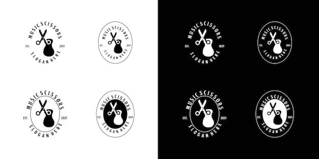 Винтажный логотип музыкальная студия ножницы аксессуары
