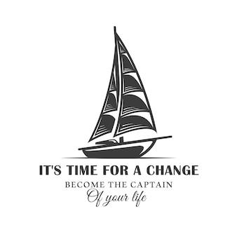 Старинный логотип парусной яхты