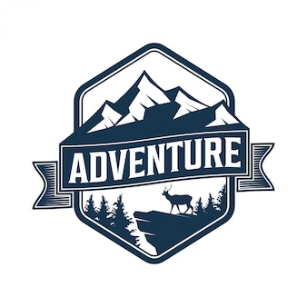 Vintage logo for outdoor with mountain elements