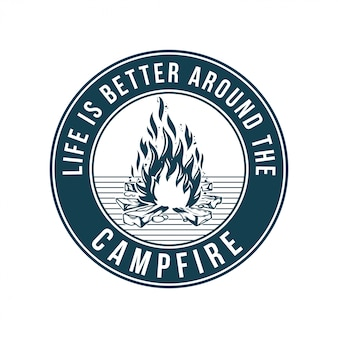 Vintage logo, print apparel design,  illustration of emblem, patch, badge with campfire, fire, flame mountain trip. adventure, travel, summer camping, outdoor, natural, journey concept.