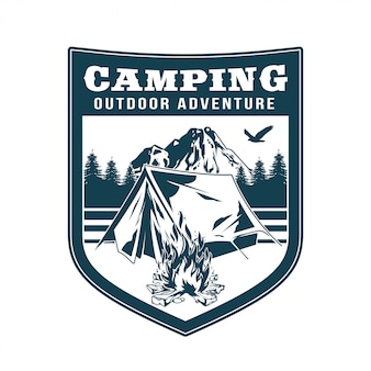 Vintage logo, print apparel design,  illustration of emblem, patch, badge with camping in forest, campfire, old tent, mountains. adventure, travel, summer camping, outdoor, natural, journey.