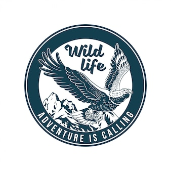 Vintage logo, print apparel design,  illustration of emblem, patch, badge with classic american wild eagle bird predator in the fly. adventure, travel, summer camping, outdoor, explore, natural.