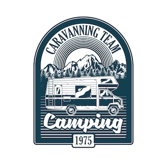 Vintage logo, print apparel design,  illustration of emblem, patch, badge with classic family camper car for caravanning on mountains. adventure, travel, summer camping, outdoor, natural journey
