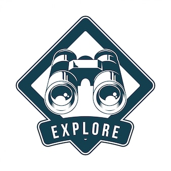 Vintage logo, print apparel design,  illustration of emblem, patch, badge with classic metal binoculars for watch animals birds and wildlife. adventure, travel, summer camping, outdoor, explore.