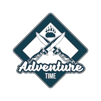 Vintage logo, print apparel design,  illustration of emblem, patch, badge with foot paw of grizzly bear, two old knives cross. adventure, travel, summer camping, outdoor, journey.