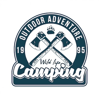 Vintage logo, print apparel design,  illustration of emblem, patch, badge with wildlife foot paw of grizzly bear and two old ax cross sign. adventure, travel, summer camping, outdoor, journey.