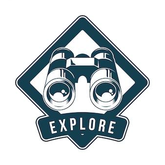 ビンテージのロゴ、プリントアパレルデザイン、エンブレムのイラスト、パッチ、時計動物の鳥や野生動物のためのクラシックな金属双眼鏡付きバッジ。冒険、旅行、夏のキャンプ、アウトドア、探索。