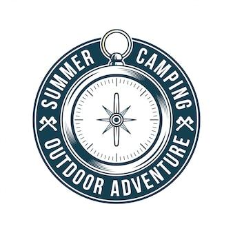 ヴィンテージロゴ、プリントアパレルデザイン、エンブレム、パッチ、旅行、冒険、旅、旅行、夏のキャンプ、アウトドア探検用のクラシックなビンテージメタルコンパス付きバッジのイラスト。