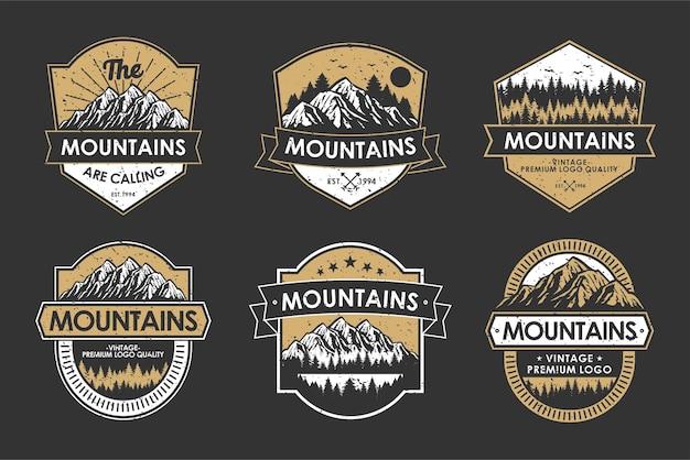 ヴィンテージロゴレトロバッジセットアドベンチャーと屋外の山のアイコンラベル