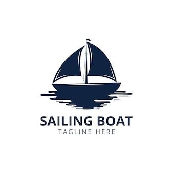 Vintage logo of sailing yacht. design element. sailing yacht silhouette isolated on white background. vector illustration