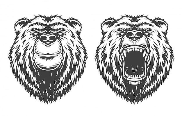 Винтажный логотип в стиле медведя