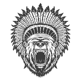 ビンテージロゴスタイルのクマ