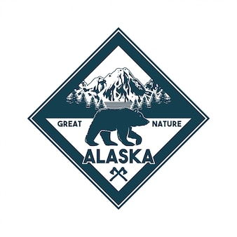 Vintage logo style print design  illustration of emblem, patch, badges with wildlife animal of grizzly bear in alaska forest. adventure, travel, camping, outdoor, natural, wilderness, explore.