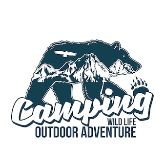 Vintage logo style print design  illustration with wildlife animal of grizzly bear with great mountains inside the silhouette. adventure, travel, camping, outdoor, natural, wilderness, explore.