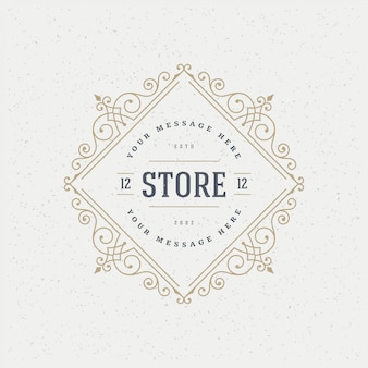 Vintage logo template elegant flourishes ornaments  illustration.