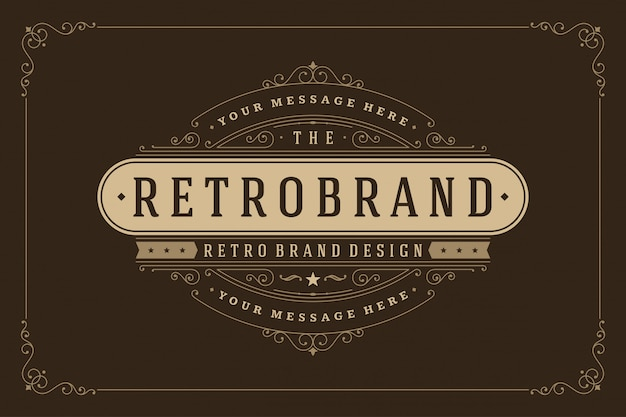 Vintage logo template elegant flourishes ornaments  illustration.