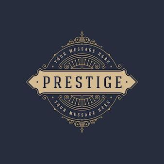Винтажный шаблон логотипа элегантные процветает украшения иллюстрации