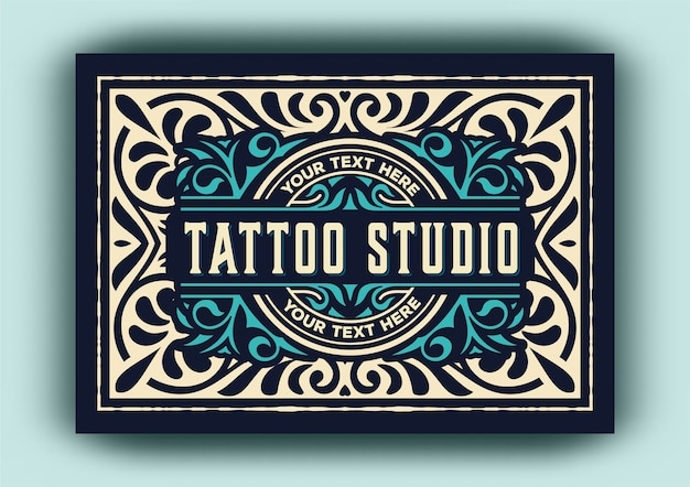 タトゥースタジオのビンテージロゴテンプレート